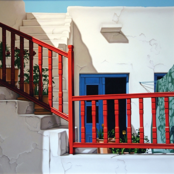 courtyard red railing