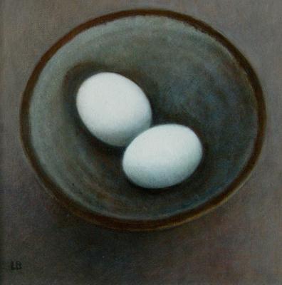 Blue Eggs in a Salt Glaze Bowl