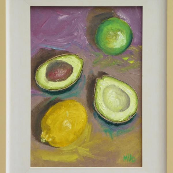stil life avocado lime and lemon