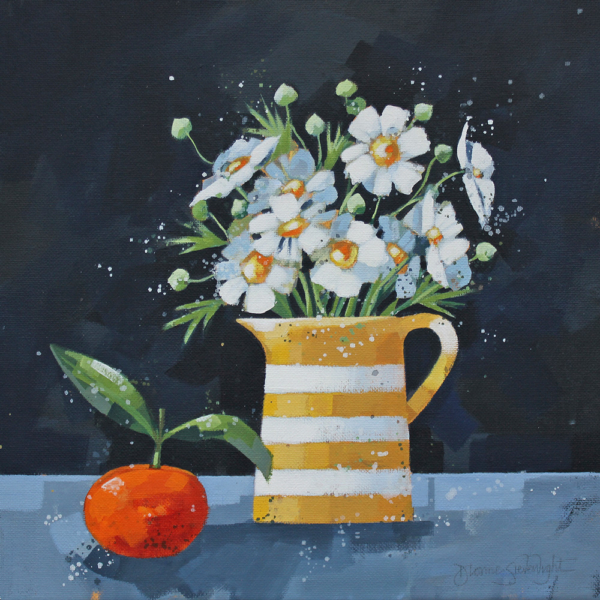 Japanese Anemones and Clementine
