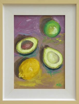 Still life avocado, lime and lemon
