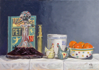 Still life decanter and chickens